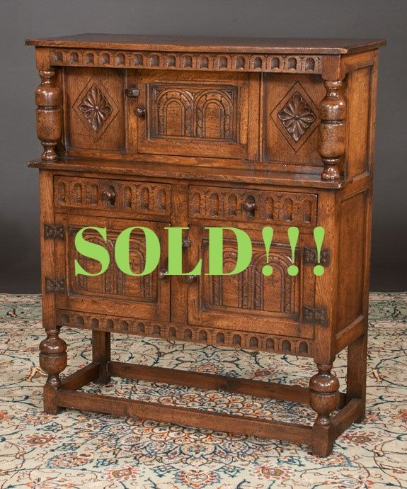 Small Jacobean Style Oak Court Cupboard  (SOLD)