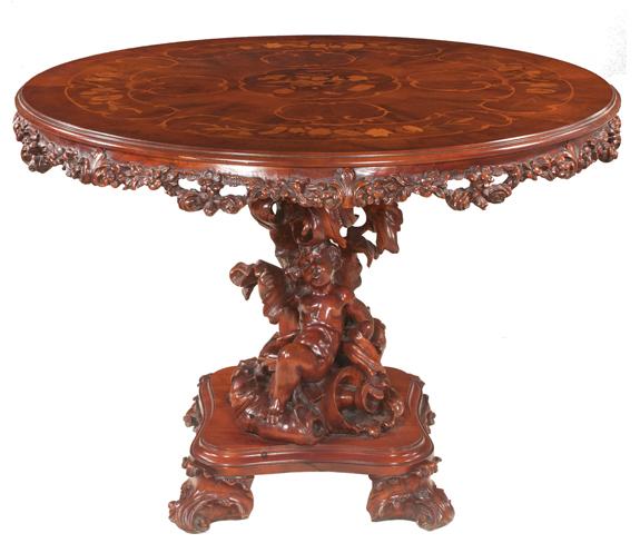 Round Mahogany Salon Table