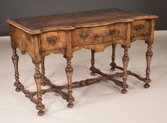 William & Mary Style Serpentine Shaped Walnut Console Table