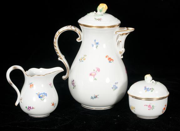 Meissen Porcelain Teapot, Matching Cream & Covered Sugar Bowl
