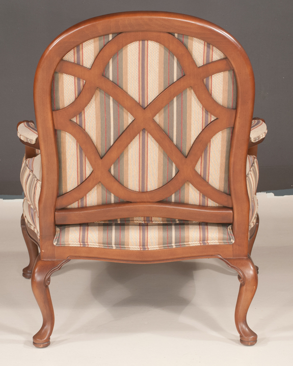 Queen Anne Style Mahogany Library Chair and Matching Ottoman