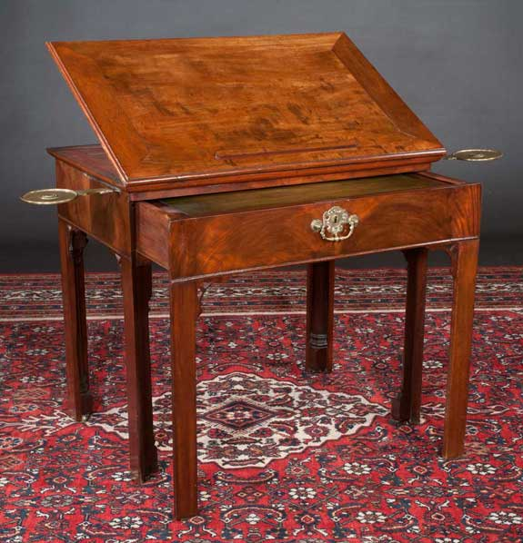 Irish Chippendale Style Mahogany Architects Table