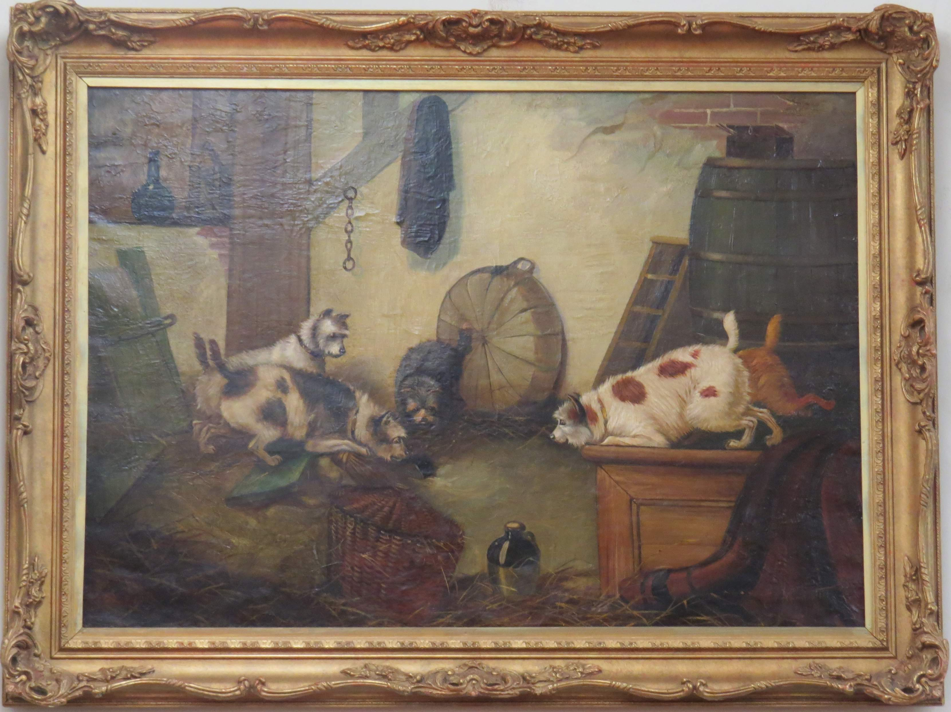 Oil on Canvas of Terriers by Edward Armfield  (SOLD)