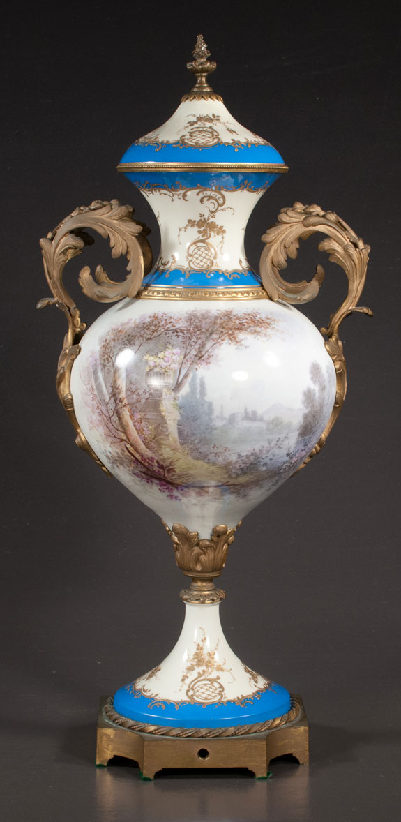 Bronze Mounted Sevres Porcelain Capped Palace Urn