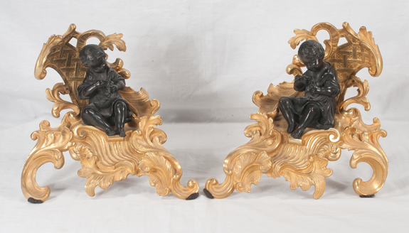 Pair of Louis XV Style Dore Bronze Chenets