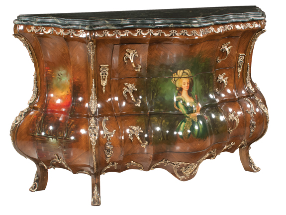 Louis XV Style Walnut Bombe Commode