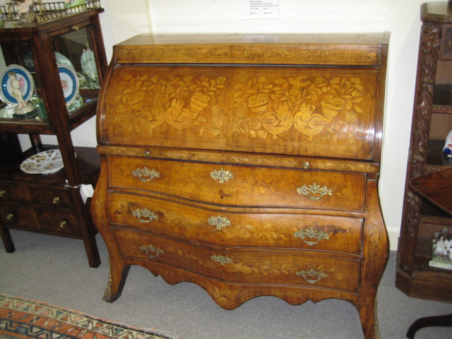 Dutch Walnut Bombe Cylinder Top Bureau  (SOLD)