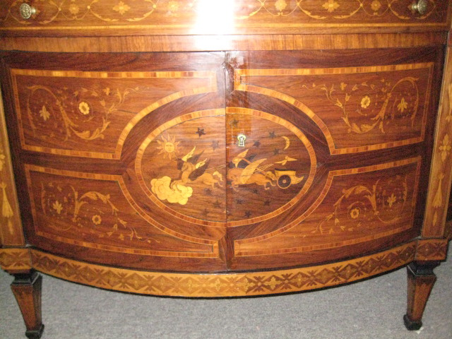 Italian Walnut Dome Top Bureau Bookcase