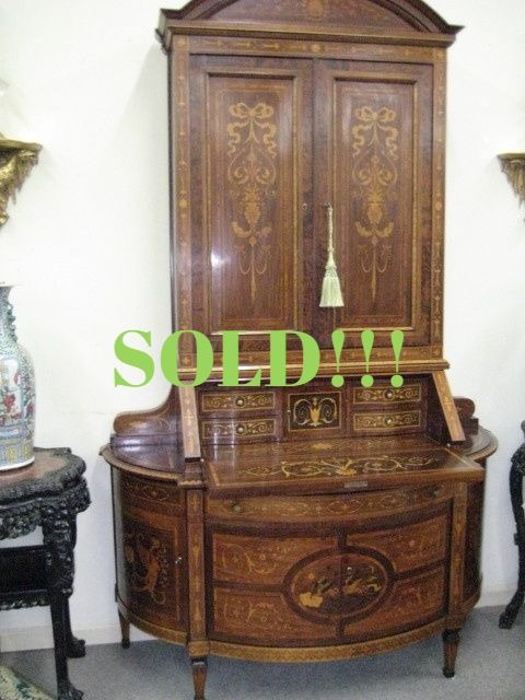Italian Walnut Dome Top Bureau Bookcase (SOLD)