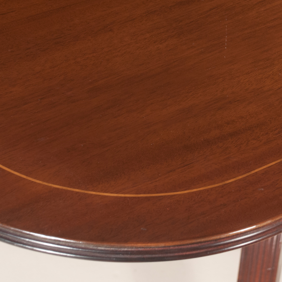 Sheraton Style Mahogany Two Pedestal Dining Table with String Satinwood Inlay