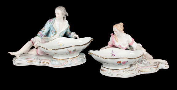 Pair of German Porcelain Sweet Meat Dishes
