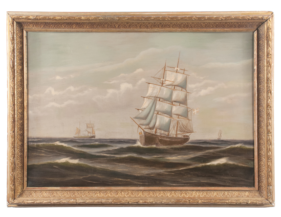 Oil on Canvas of an Ocean Scene with Clipper Ships