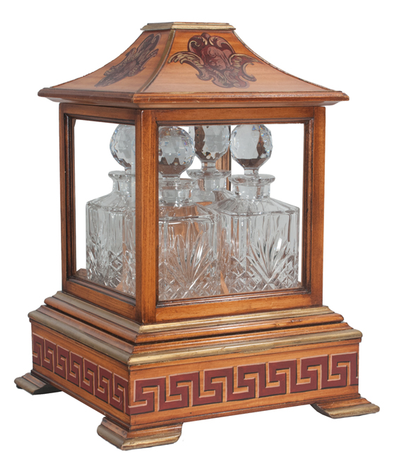 Georgian Style Walnut Tantalus Set