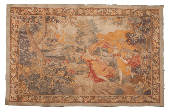 French Tapestry of a Forest Scene