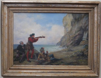 Coastal Scene with Three Men, Oil on Canvas