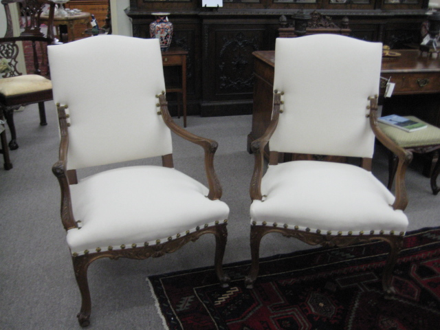 Pair Of Country French Walnut Armchairs