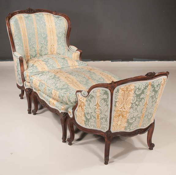 Louis XV Style 3 Piece Oak Chaise Lounge