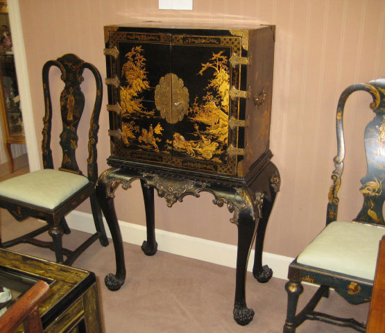 Black And Gold Chinoiserie Lacquered Cabinet