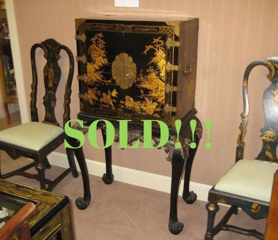 Black And Gold Chinoiserie Lacquered Cabinet  (SOLD)