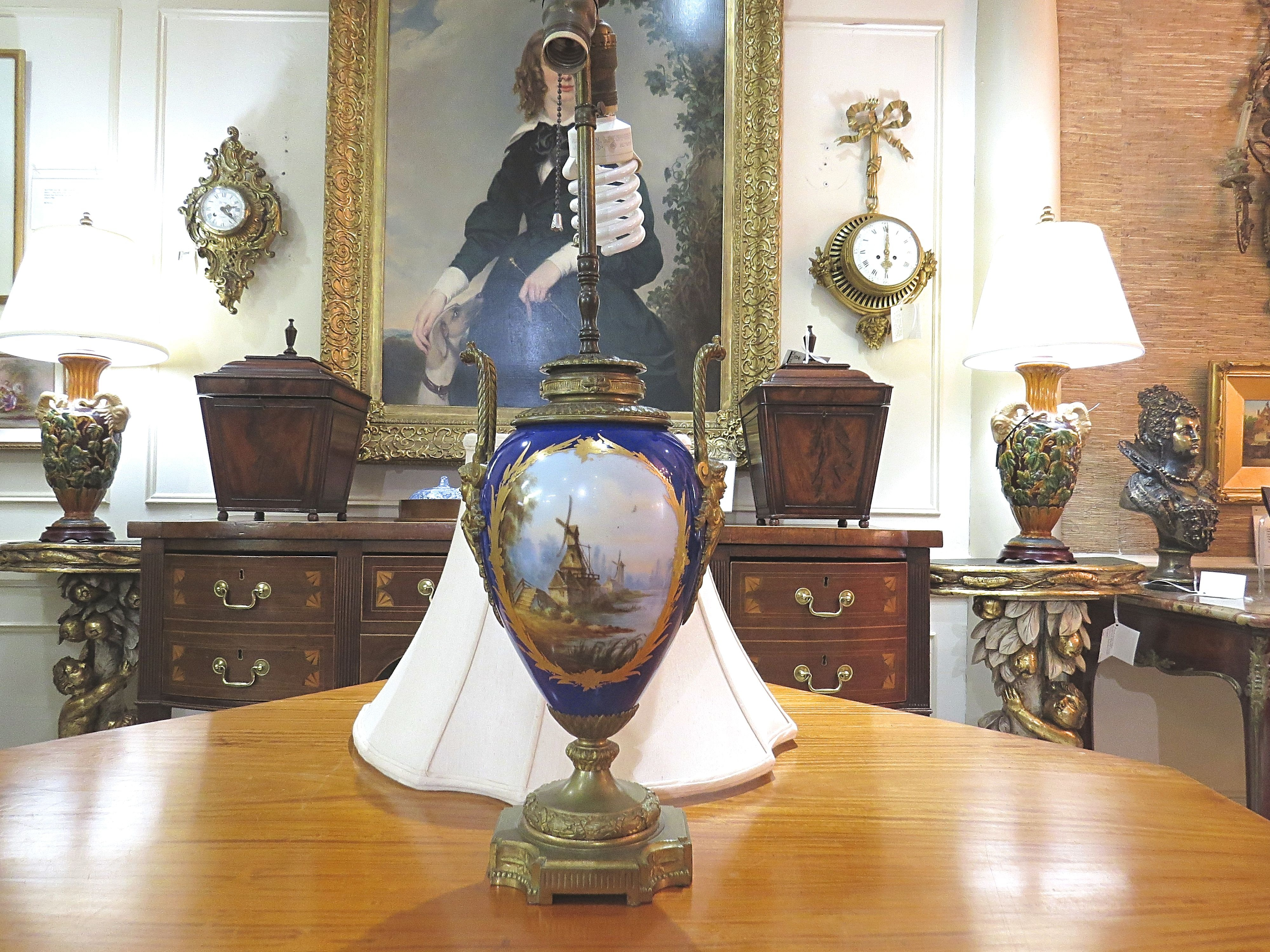 Pair of Sevres Porcelain Urn Lamps