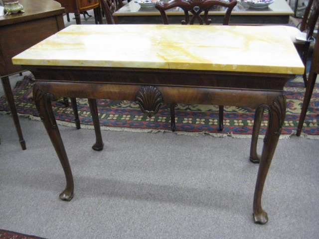 inventory queen anne style walnut marble top console table
