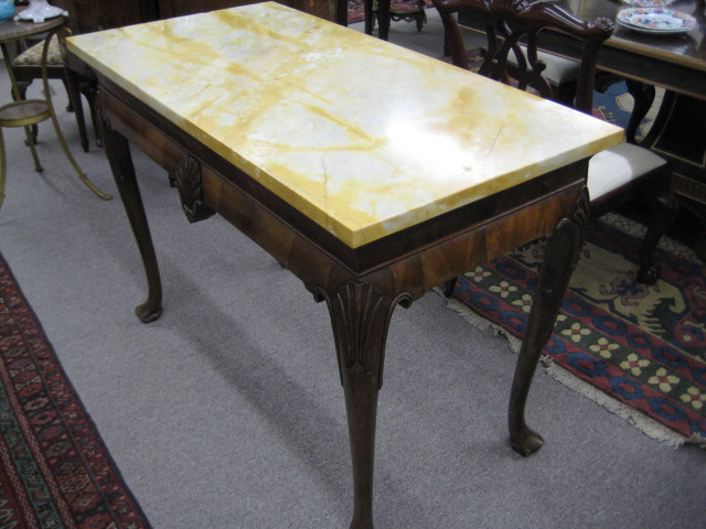 Queen Anne Style Walnut Marble Top Console Table