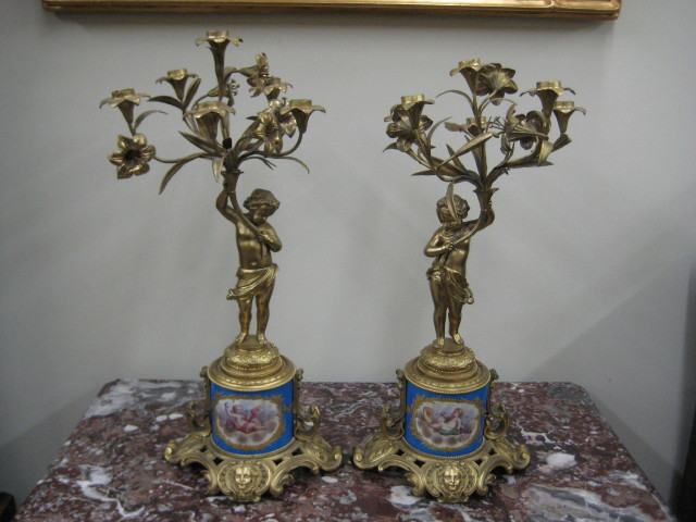 Bronze And Sevres Candelabra