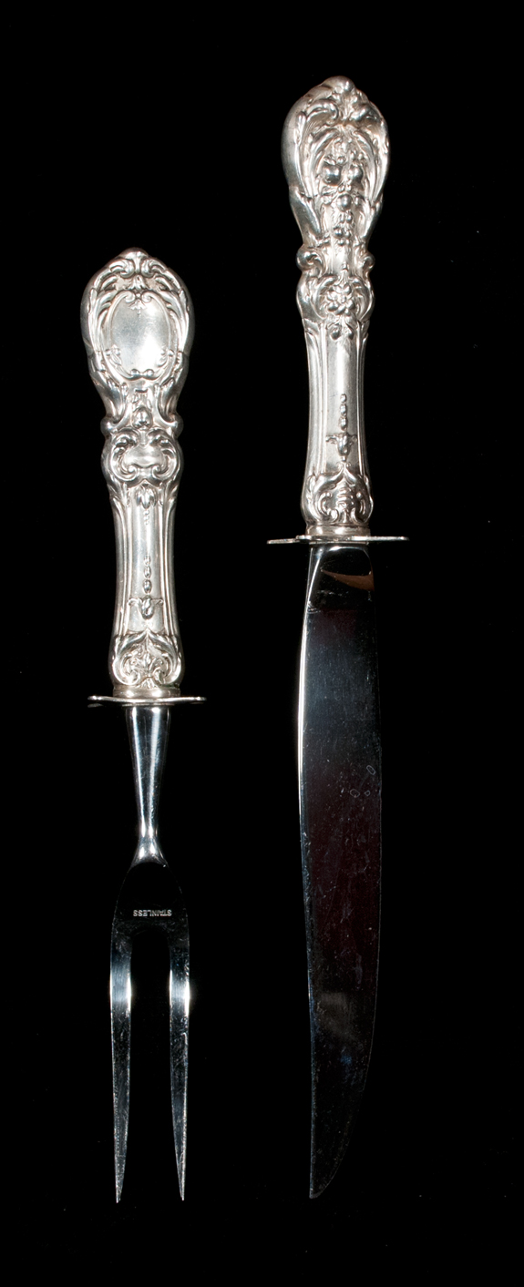 Reed & Barton Sterling Silver Carving Knife & Fork - Francis I Pattern