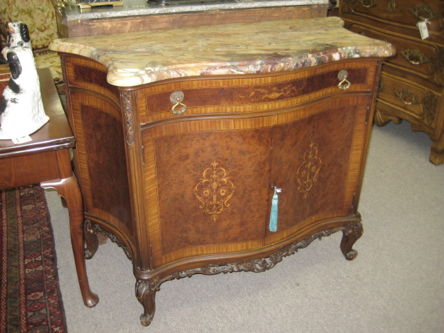 Marble Top Burl Walnut Cabinet