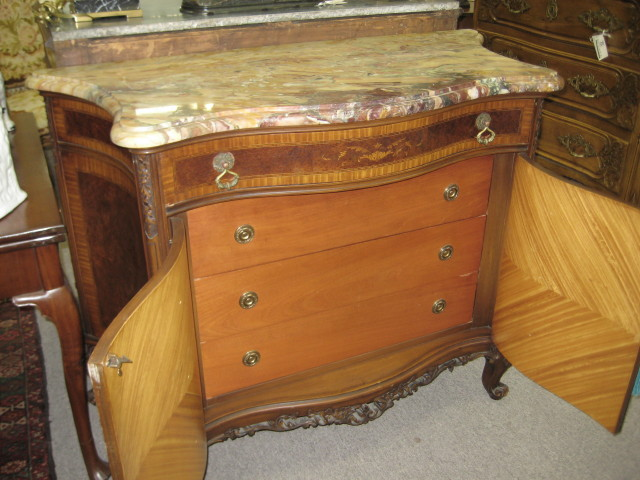 Marble Top Burl Walnut Cabinet