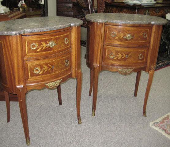 Pair Of Bronze Mounted End Tables