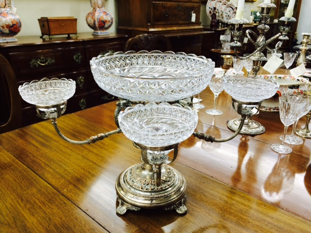 Sheffield Silver Plated Epergne with Four Crystal Bowls
