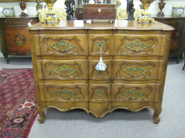 Country French Style Shaped Front Walnut Commode