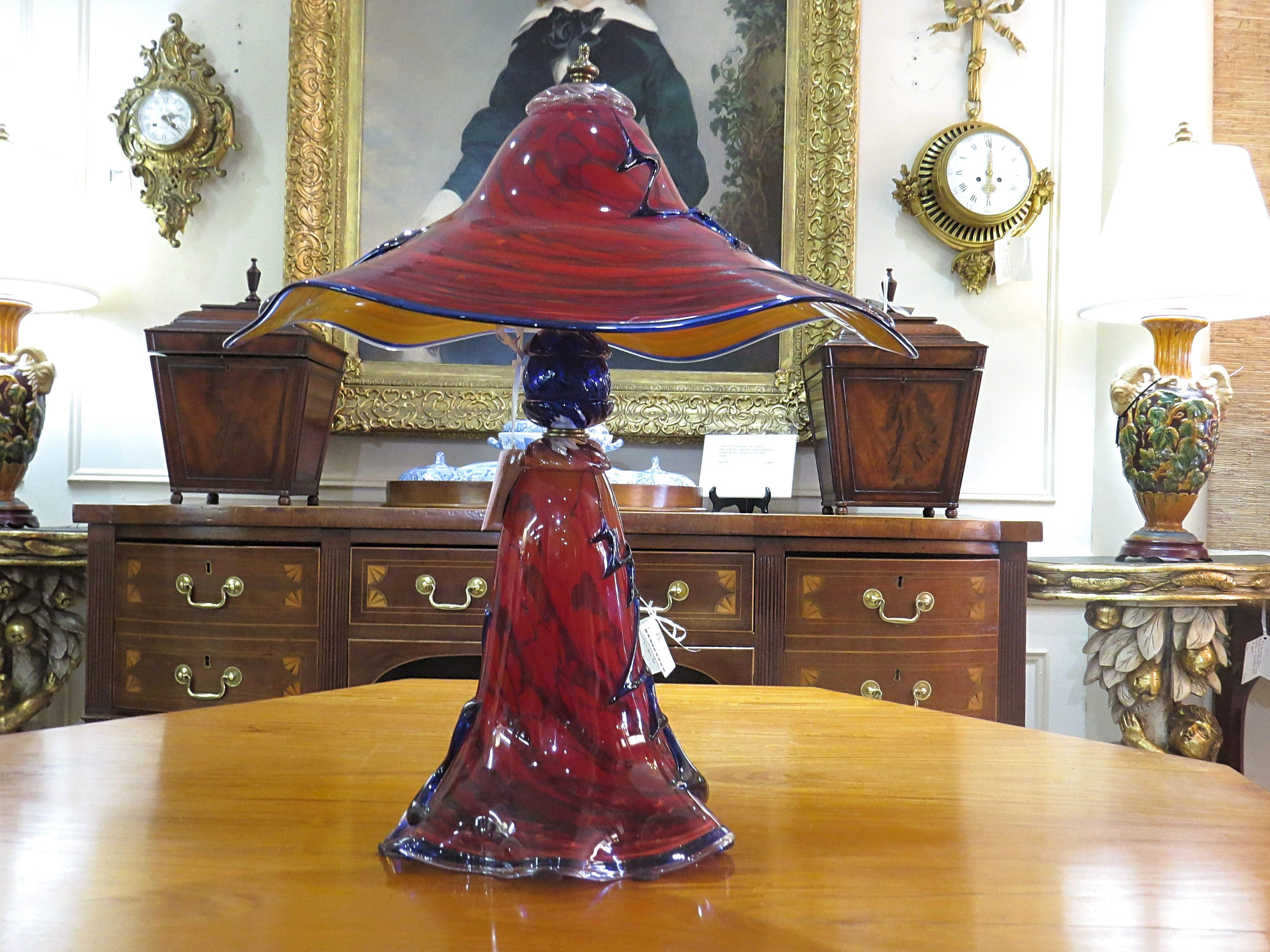 Art Glass Lamp with Oblong Shade