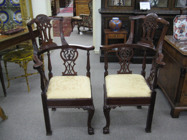 Pair Of Irish Chippendale Style Mahogany Corner Chairs