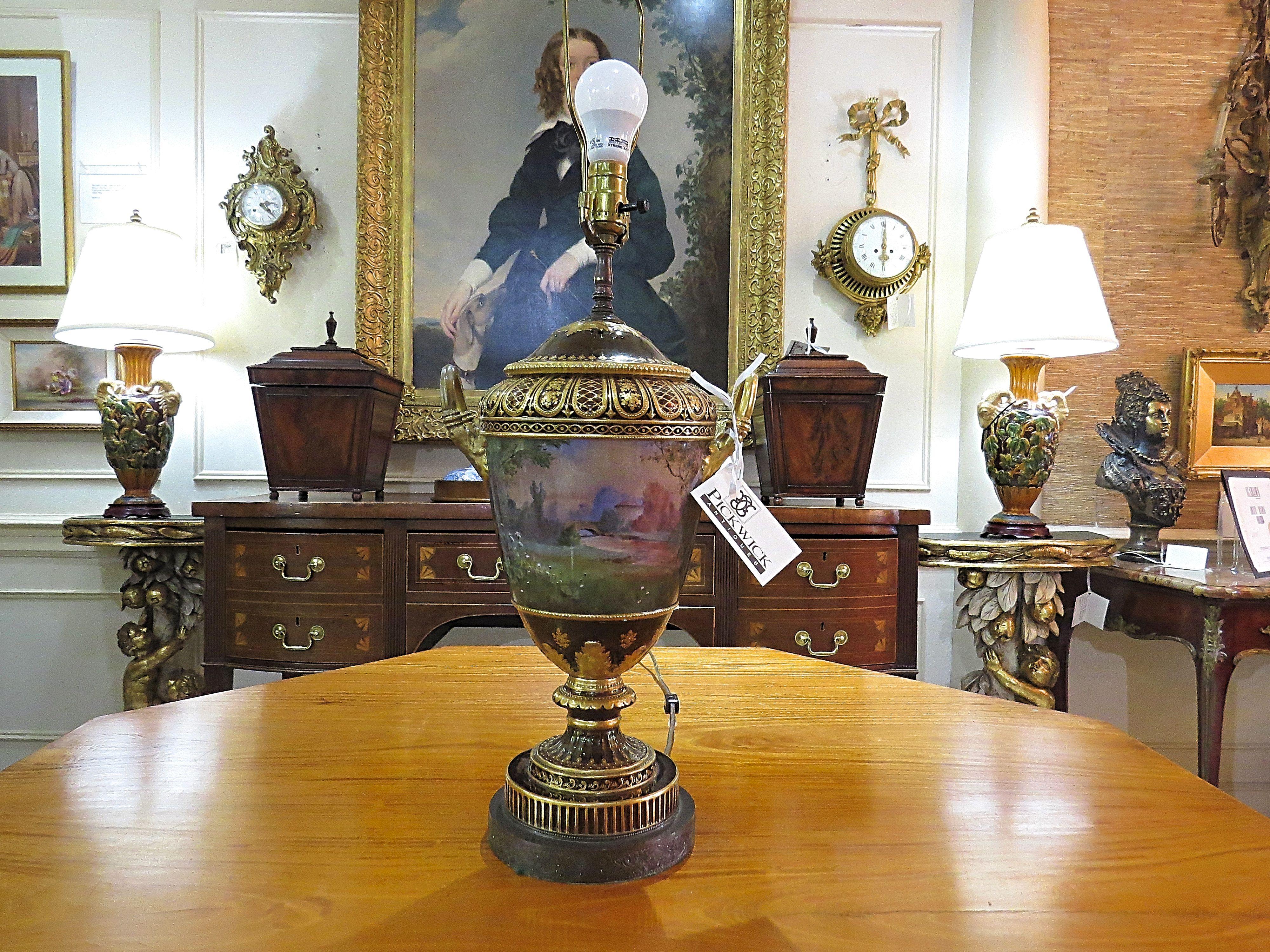 Sevres Style Porcelain Urn Lamp