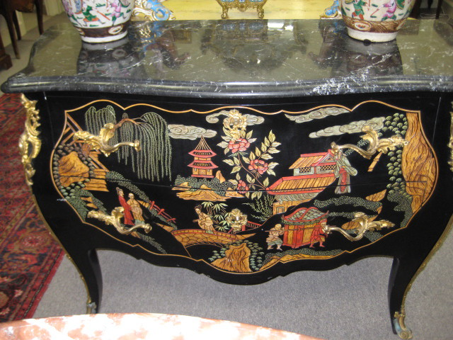 Black Lacquered Bombe Commode