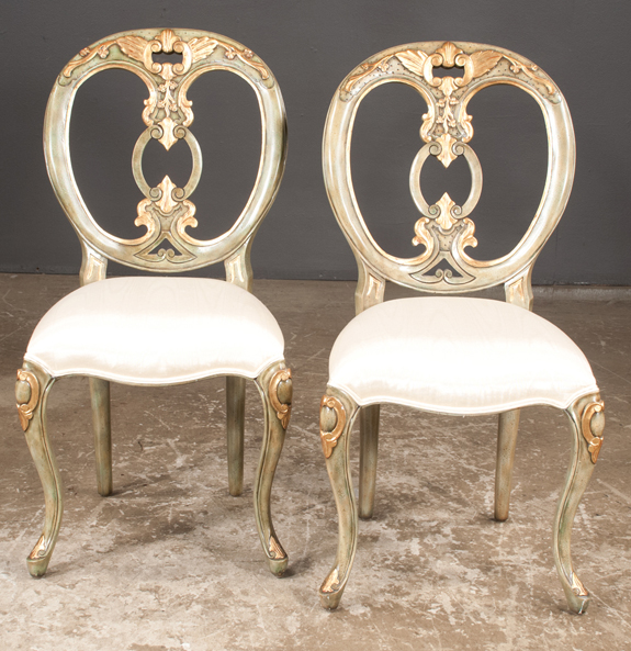 Pair of Carved Painted and Partial Gilt Side Chairs