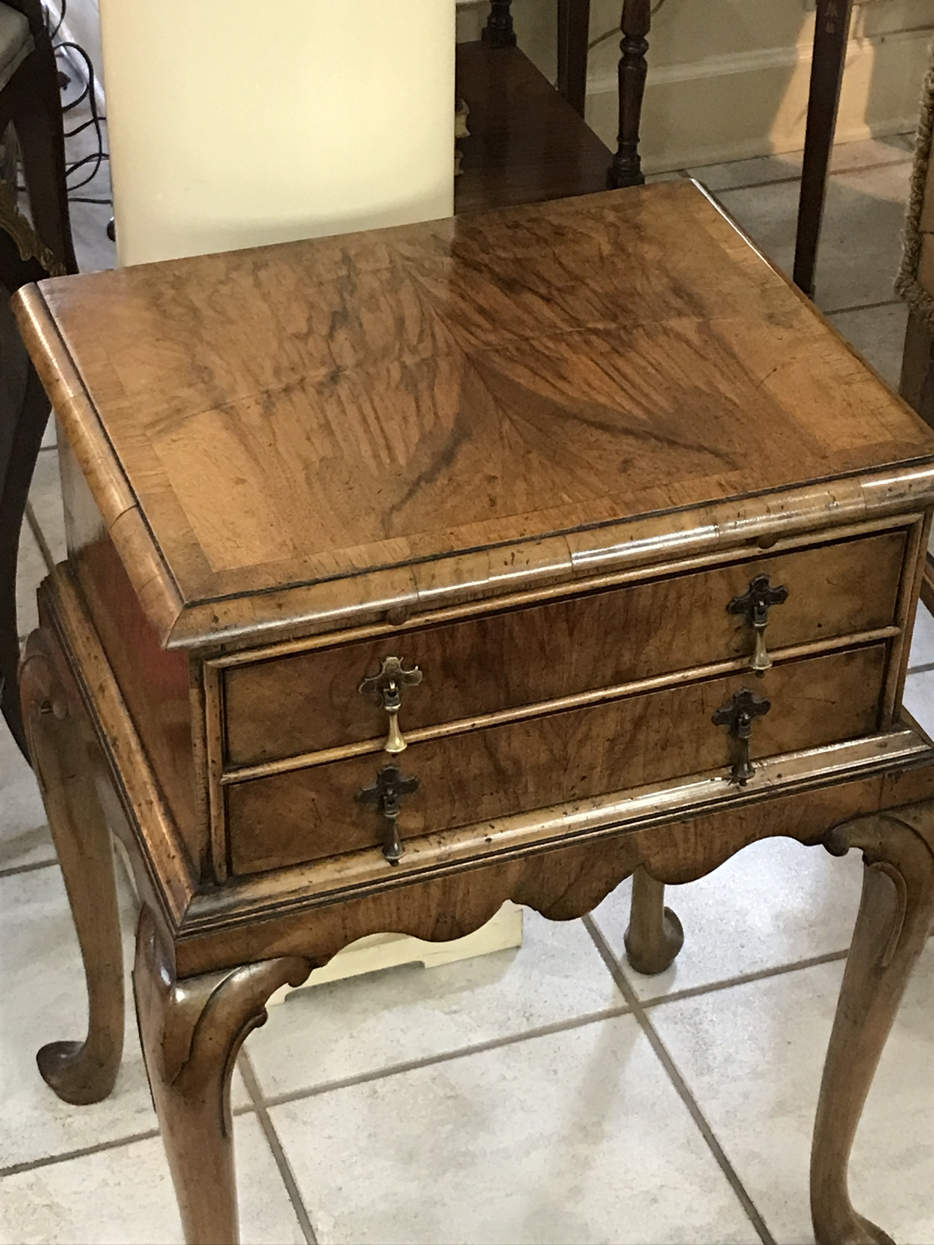Queen Anne Style Walnut Two Drawer Side Table