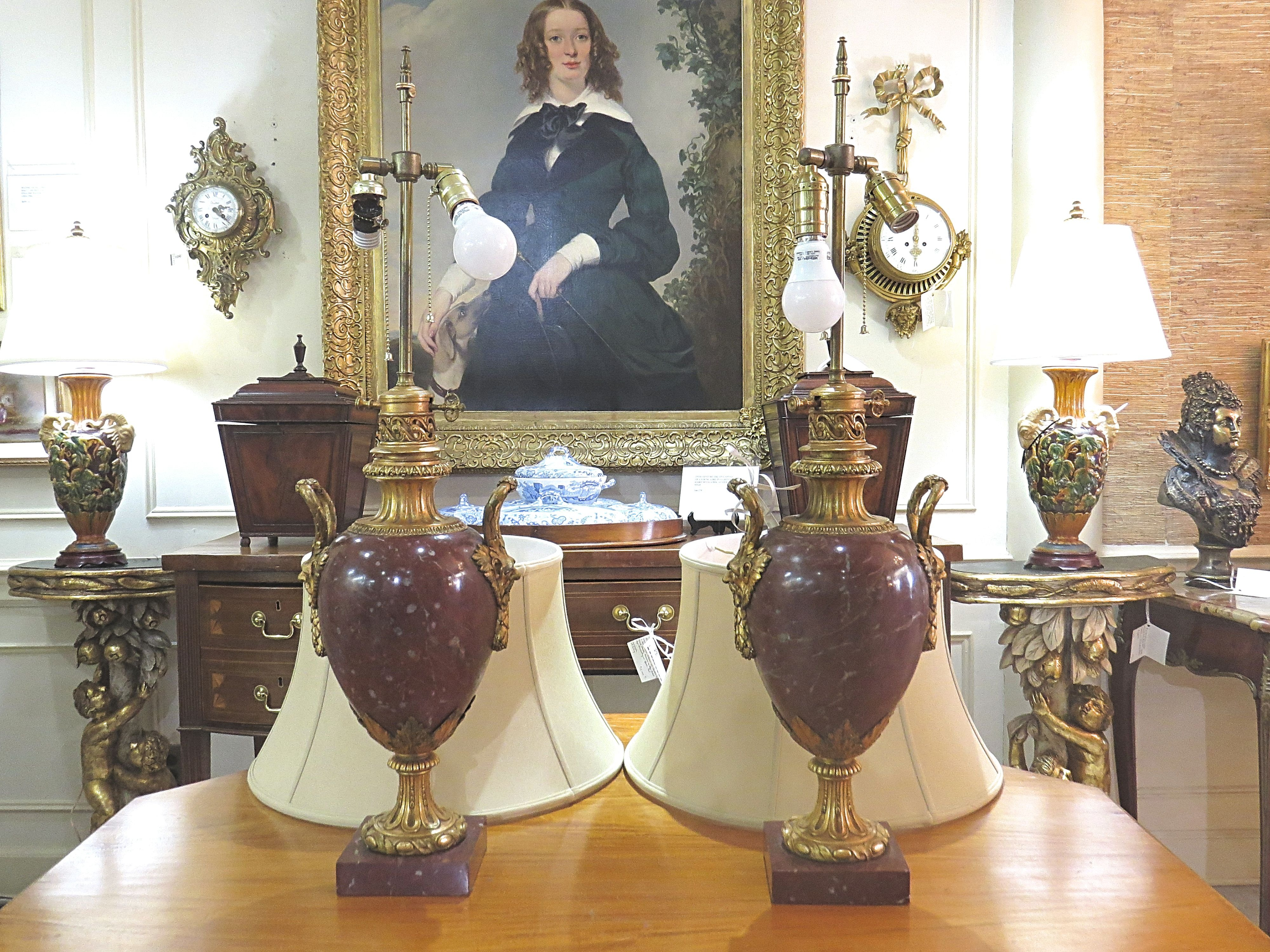 Pair of Louis XVI Style Bronze Mounted Marble Urn Lamps