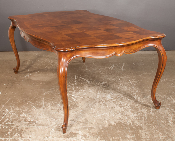 Louis XV Style Mahogany Dining Table with Parquetry Top