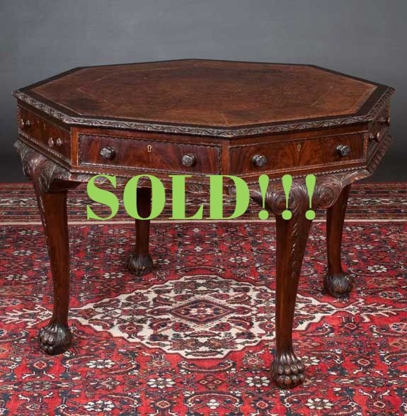 Octagonal Shape Irish Chippendale Style Table  (SOLD)