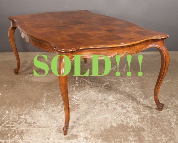 Louis XV Style Mahogany Dining Table with Parquetry Top  (SOLD)