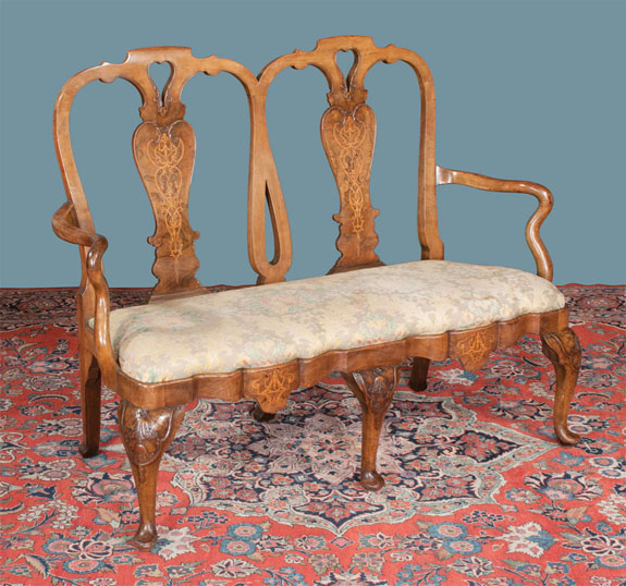 Queen Anne Style Walnut Double Chair Back Settee