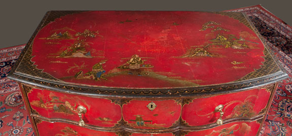 English Crimson and Gold Lacquered Bow Front Commode