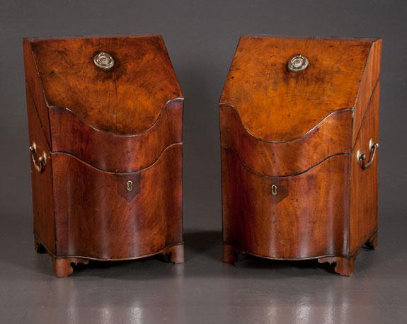 Pair of Sheraton Mahogany Knife Boxes