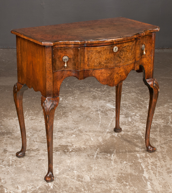 Serpentine Front Queen Anne Style Walnut Lowboy