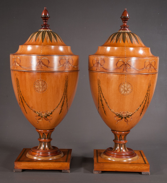 Pair of Adams Style Knife Urns