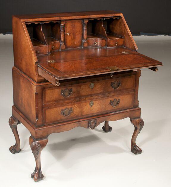 Queen Anne Walnut Slant Top Desk