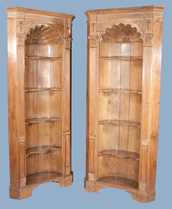 Pair of English Pine Corner Cupboards